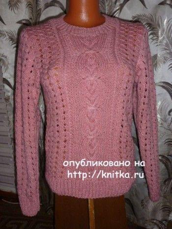 Вязаный пуловер – работа Марины. Вязание спицами.