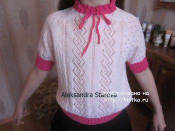 Вязаная кофточка для девочки спицами от Александры Старовой