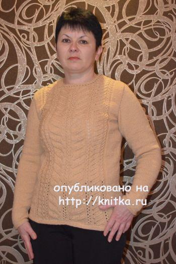 Вязаный спицами свитер – работа Ирины Стильник. Вязание спицами.