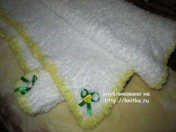Вязаный спицами детский плед – работа Марии Гнедько. Вязание спицами.