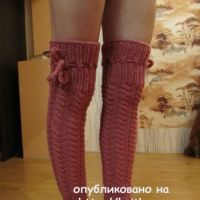 Вязаные спицами гетры – ботфорты – работа Марии Гендько