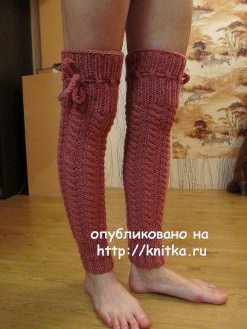 Вязаные спицами гетры – ботфорты – работа Марии Гендько. Вязание спицами.