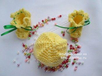 Детские шапочки спицами – работы Марии Гнедько. Вязание спицами.