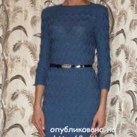 Вязаное спицами платье – работа Марины