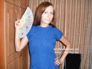 Вязаное платье – работа Ольги. Вязание спицами.