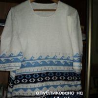 Летний пуловер спицами – работа Ольги