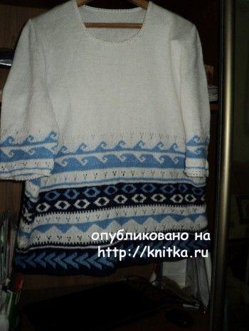 Летний пуловер спицами – работа Ольги. Вязание спицами.