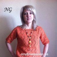 Вязаный спицами пуловер – работа NatalyaG.