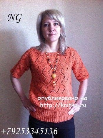 Вязаный спицами пуловер – работа NatalyaG.. Вязание спицами.