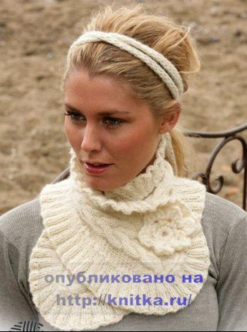 Теплый шарфик, связанный на спицах. Вязание спицами.