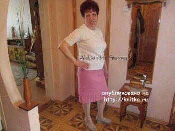 Кофта и юбка спицами – работы Александры Старовой. Вязание спицами.