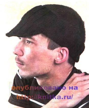 Мужская повязка на голову с козырьком. Вязание спицами.