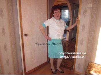 Вязаный спицами костюм – работа Александры Старовой. Вязание спицами.