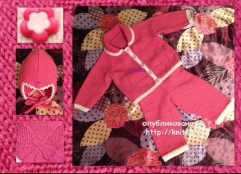 Комплект для девочки спицами – работа Ларисы Величко. Вязание спицами.