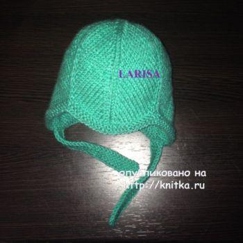 Вязаная шапочка и пинетки – работы Ларисы Величко. Вязание спицами.
