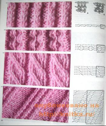 Узоры с двумя перемещенными петлями. Вязание спицами.