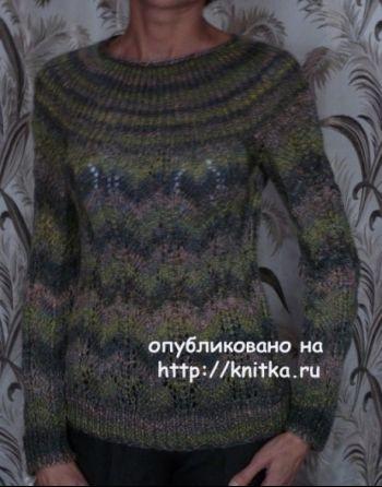 Джемпер спицами – работа Марины Ефименко. Вязание спицами.