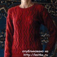 Бордовый джемпер спицами - работа Марины Ефименко