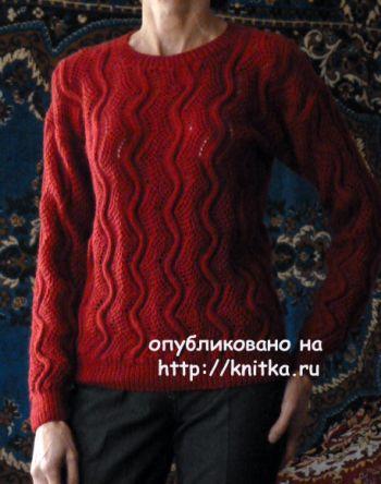 Бордовый джемпер спицами – работа Марины Ефименко. Вязание спицами.