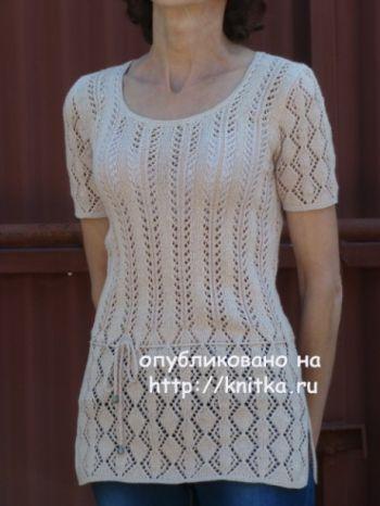 Ажурная туника спицами – работа Марины Ефименко. Вязание спицами.