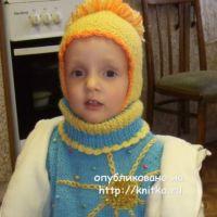 Детская шапочка спицами – работа Марии Казановой