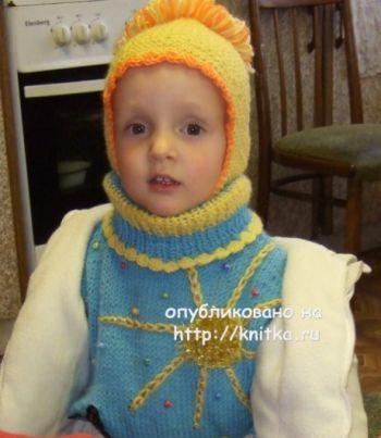 Детская шапочка спицами – работа Марии Казановой. Вязание спицами.
