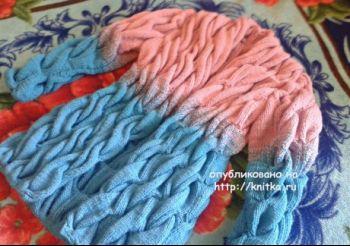 Кардиган градиент из кос – работа Люси Туевой. Вязание спицами.