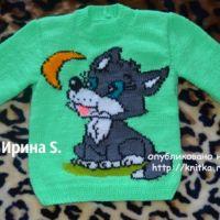 Детский свитер спицами. Работа Ирины Стильник