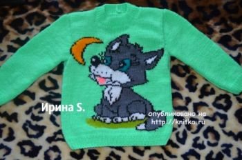 Детский свитер спицами. Работа Ирины Стильник. Вязание спицами.