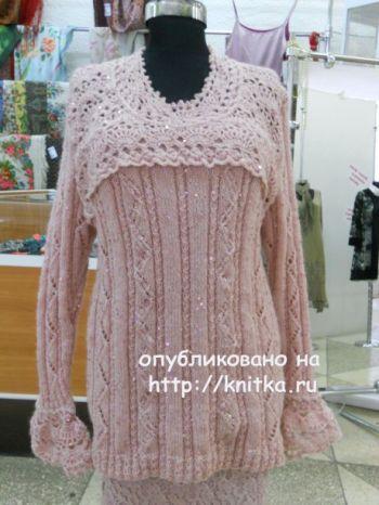 Розовый джемпер спицами. Работа Татьяны Беленькой. Вязание спицами.