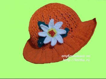 Вязаная спицами шляпа. Работа Елены. Вязание спицами.