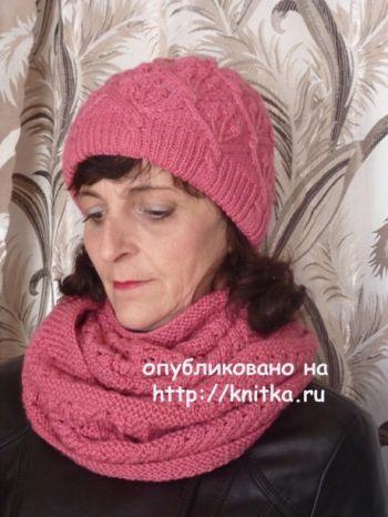 Шапочка и снуд спицами. Работы Марины Ефименко. Вязание спицами.