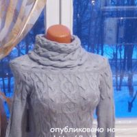 Вязаный женский свитер с аранами. Работа Анастасии