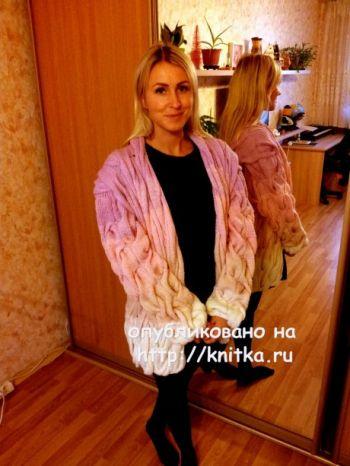Кардиган Лало. Работа Валентины. Вязание спицами.
