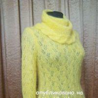 Желтый свитер спицами. Работа Поповой Анастасии