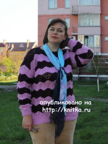 Двухцветный пуловер. Работа Светланы Шевченко (Sova Fotina). Вязание спицами.