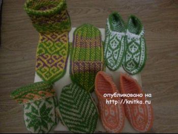 Носки с туркменским узором. Работы Фариды. Вязание спицами.