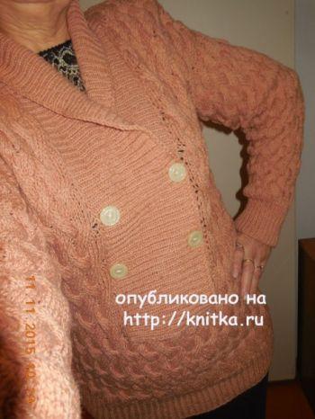 Женский пуловер. Работа Людмилы. Вязание спицами.