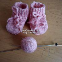 Розовые носки - пинетки. Работа Валерии
