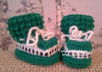 Вязаные пинетки для малышей. Работы Риммы. Вязание спицами.
