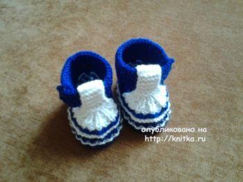 Красивые пинетки спицами для новорожденных