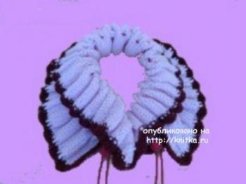 Вязаный спицами шарф. Работа Сауле Вагаповой. Вязание спицами.