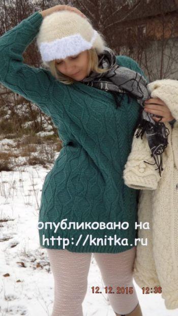 Теплое шерстяное платье спицами. Работа Оксаны. Вязание спицами.