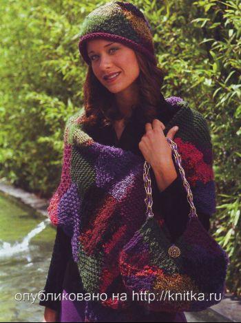 Вязаный шарф, шапка и сумка. Вязание спицами.