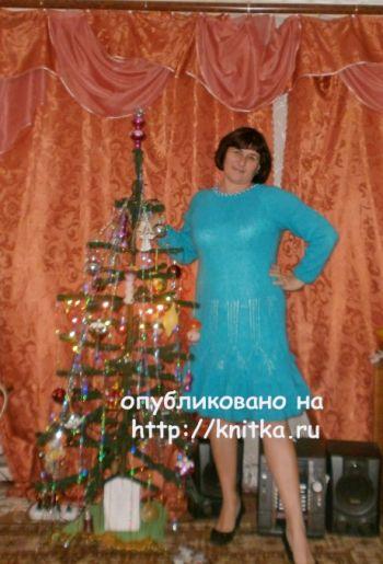 Платье Голубая дымка. Работа Наталии Гуторовой. Вязание спицами.