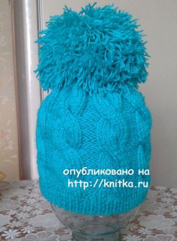 Шапочка спицами. Работа Ольги Ярославской. Вязание спицами.