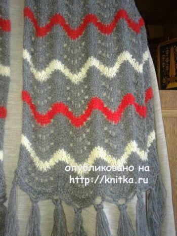 Вязаный спицами шарф. Работа Галины Коржуновой. Вязание спицами.