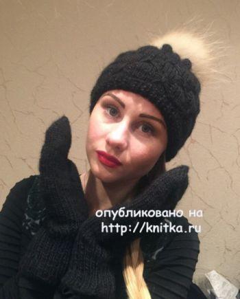 Шапочка и варежки спицами. Работы Натальи Никифоровой. Вязание спицами.