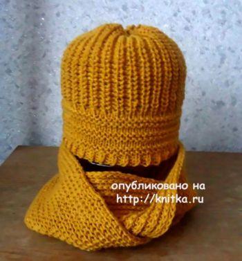 Снуд и шапка спицами. Работы Валерии. Вязание спицами.