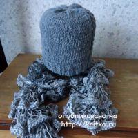 Шапка и шарф спицами. Работы Валерии